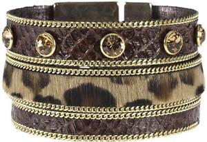 【送料無料】ブレスレット アクセサリ― ビビヒョウブラウンレザーカフbibi bijoux leopard print fur amp; brown leather cuff bnwt