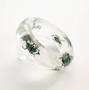 【送料無料】ブレスレット アクセサリ― カブトlucitetransparent clear lucite bracelet with exotic beetles