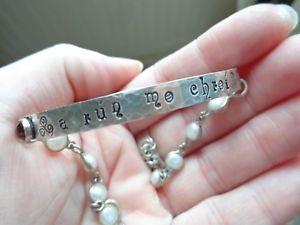 【送料無料】ブレスレット アクセサリ― オレンジアウトランダーゲールスターリングシルバーブレスレットハンドメイドモamber outlander gaelic sterling silver bracelet handmade mo chroimy heart