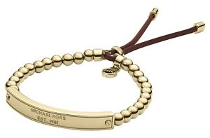【送料無料】ブレスレット アクセサリ―  authentic michael korsロゴplaque gold beadedleather bracelet mkj3343710 authentic michael kors logo plaque gold beaded leat