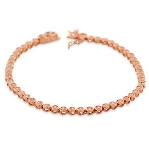 【送料無料】ブレスレット アクセサリ― kローズゴールドスターリングシルバーテニスブレスレット18k rose gold sterling silver bezelset white crystals cz womens tennis bracelet