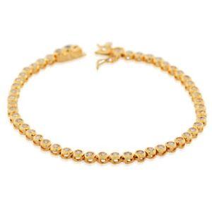【送料無料】ブレスレット アクセサリ― ゴールドスターリングシルバーテニスブレスレット18k gold sterling silver bezelset white crystals cz womens tennis bracelet