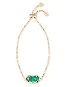 【送料無料】ブレスレット アクセサリ― エメラルドグリーンケンドラスコットelainaチェーンブレスレットkendra scott elaina oval chain bracelet in emerald green and gold plated