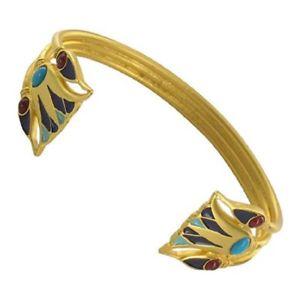 【送料無料】ブレスレット アクセサリ― マットトルコエジプトハスエナメルカフスブレスレットmatte gold finish turquoise carnelian egyptian lotus flower enamel cuff bracelet