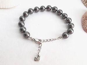【送料無料】ブレスレット アクセサリ― swarovskiダークグレーパールブレスレットauthentic swarovski swan dark grey pearl bracelet