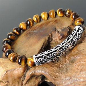 【送料無料】ブレスレット アクセサリ― ヨガチャクラベルトスターリングハスsacred yoga chakra safety strap brown tigers eye sterling silver lotus