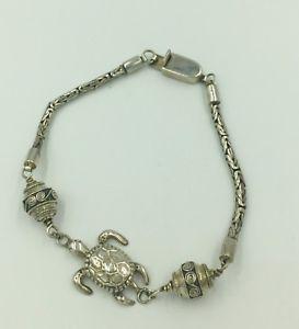 【送料無料】ブレスレット アクセサリ― ビンテージスイミングウミガメリンクブレスレットインチvintage swimming sea turtle link bracelet 8 inch sterling silver signed