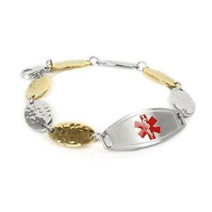 【送料無料】ブレスレット アクセサリ― カスタマイズブレスレットゴールドトーンスチールmyiddr customized medical id bracelet with free engraving, 15cm gold tone steel