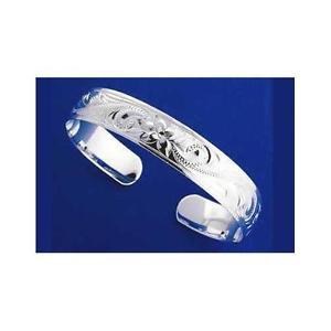 【送料無料】ブレスレット アクセサリ― argento 925 hawaiano braccialeplumeria scorrere bordi lisci 4mmargento 925 hawaiano bracciale a fascia plumeria scorrere b
