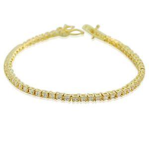 【送料無料】ブレスレット アクセサリ― イエローゴールドスターリングシルバーテニスブレスレット18k yellow gold sterling silver classic white crystals cz womens tennis bracelet