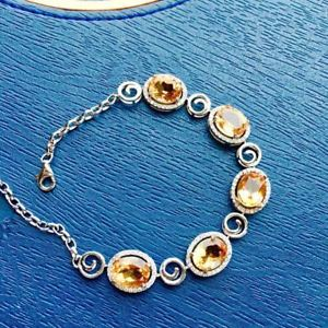 【送料無料】ブレスレット アクセサリ― シトリンホワイトゴールドメッキブレスレットプレゼントnatural citrine white gold plating overgild 925 7*9mm bracelet birthday gift