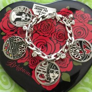 【送料無料】ブレスレット アクセサリ― ブライトンファッショニスタリンクブレスレットドルbrighton fashionista silver crystal charm link bracelet nwt 68