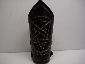 【送料無料】ブレスレット アクセサリ― ヘビーメタルleather carved pentagram gauntletheavy metalmdlg0151udo