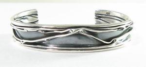 【送料無料】ブレスレット アクセサリ― スターリングシルバーワイドカフブレスレットストラップサイズ925 sterling silver 12 wide crushed cuff bracelet wrist size 6 7