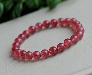【送料無料】ブレスレット アクセサリ― レッドイチゴブレスレット8mmaaaanatural red ice strawberry quartz crystal stretch beads bracelet 8mm aaaa