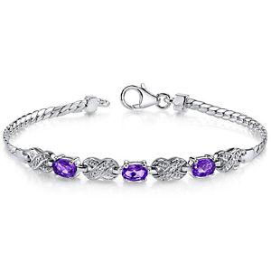 【送料無料】ブレスレット アクセサリ― アメジストスターリングシルバーブレスレット125 ct oval purple amethyst sterling silver bracelet