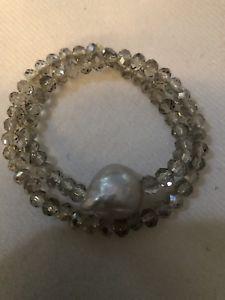 【送料無料】ブレスレット アクセサリ― パールクリスタルダブルラップブレスレットpearl and crystal double wrap bracelet