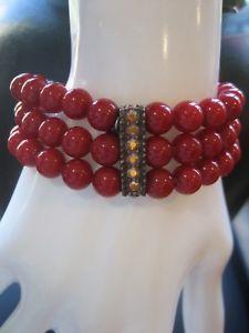 【送料無料】ブレスレット アクセサリ― リバーシブルビーズパラダイスストレッチブレスレットkirks folly signed reversible red bead paradise love peace stretch bracelet