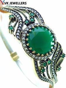 【送料無料】ブレスレット アクセサリ― スターリングシルバートルコハンドメイドジュエリーエメラルドカフブレスレット925 sterling silver turkish handmade jewelry emerald cuff bracelet 75 b2133