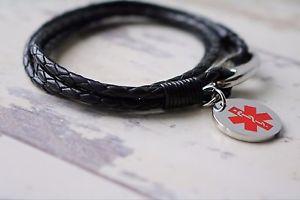 【送料無料】ブレスレット アクセサリ― アラートブレスレットサイズサービスleather medical alert bracelet various sizes free engraving