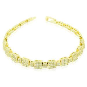 【送料無料】ブレスレット アクセサリ― スターリングシルバースクエアテニスクリアブレスレット925 sterling silver yellow goldtone clear square cz tennis bracelet, 675