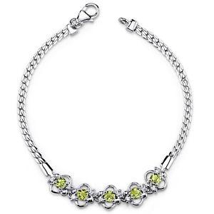 【送料無料】ブレスレット アクセサリ― ラウンドグリーンペリドットスターリングシルバーブレスレット15 ct round green peridot sterling silver bracelet