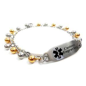 【送料無料】ブレスレット アクセサリ― ブレスレットスチールドロップmyiddr womens medical id bracelet with engraving 316l 2mm steel drops