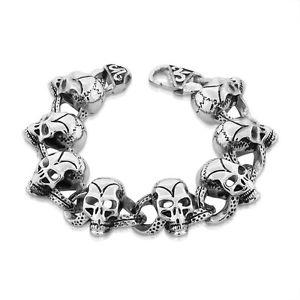 【送料無料】ブレスレット アクセサリ― ステンレススチールスカルメンズリンクブレスレットstainless steel silvertone heavy grinning skull mens link bracelet