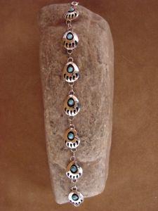 【送料無料】ブレスレット アクセサリ― ナバホターコイズブレスレットアルジェントスターリングnavajo indien turquoise ours patte bracelet lien argent sterling bb0086