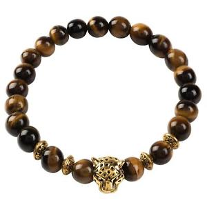 【送料無料】ブレスレット アクセサリ― ブラウンキャッツアイサイズゴールドタイガーmens gemstone leopard brown tigers eye one size boxed gift gold latelita tiger
