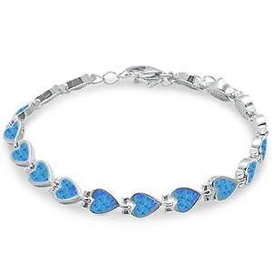 【送料無料】ブレスレット アクセサリ― オパールハートスターリングシルバーブレスレットblue fire opal heart 925 sterling silver bracelet