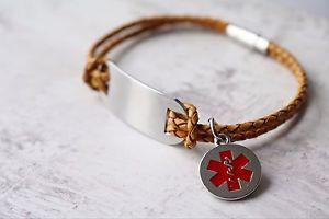 【送料無料】ブレスレット アクセサリ― バーブレスレットメッセージlife saving medical alert sos large id bar leather bracelet any message
