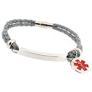 【送料無料】ブレスレット アクセサリ― メンズファッションアラートブレスレットmens fashion grey life saving engraved medical sos id alert leather bracelet