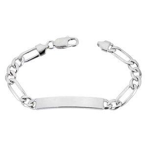 【送料無料】ブレスレット アクセサリ― スターリングシルバーフィガロリンクブレスレットイタリア7mm sterling silver figaro link id 79 bracelet, free engraving, made in italy