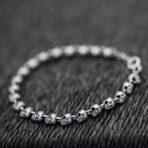 【送料無料】ブレスレット アクセサリ― スターリングシルバーバイカーパンクスカルスケルトンチェーンブレスレット925 sterling silver biker punk skull skeleton chain bracelet a2533