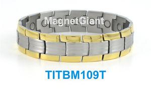 【送料無料】ブレスレット アクセサリ― クールハイパワーメンズチタニウムブレスレットガウスシルバーcool high power mens magnetic titanium bracelet 5000 gauss magnets silveramp;gold