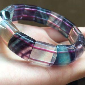 【送料無料】ブレスレット アクセサリ― ビーズブレスレットnatural blue fluorite quartz crystal rectangle beads bracelet