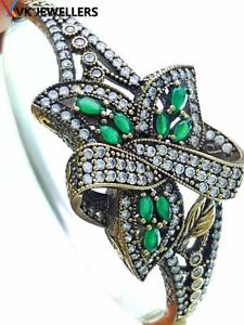 【送料無料】ブレスレット アクセサリ― スターリングシルバートルコハンドメイドジュエリーエメラルドカフブレスレット925 sterling silver turkish handmade jewelry emerald cuff bracelet 75 b2121