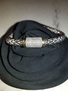 【送料無料】ブレスレット アクセサリ― スターリングシルバーkゴールドストーンレディースクリアブレスレット925 sterling silver 14k gold clear stone cz ladies bracelet 8
