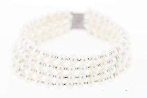【送料無料】ブレスレット アクセサリ― ストランドホワイトボタンパールブレスレット4strand sterling silver cfwp white button pearl bracelet 22mm wide