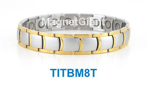 【送料無料】ブレスレット アクセサリ― シルバーメンズチタニウムブレスレットガウスsilver amp; gold high power mens magnetic titanium bracelet 5000 gauss magnets