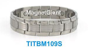 【送料無料】ブレスレット アクセサリ― クールハイパワーメンズチタニウムブレスレットガウスシルバーcool high power mens magnetic titanium bracelet 5000 gauss magnets silver