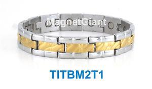 【送料無料】ブレスレット アクセサリ― ゴールドメンズチタニウムブレスレットガウスgold amp; silver high power mens magnetic titanium bracelet 5000 gauss magnets