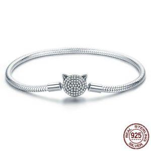 【送料無料】ブレスレット アクセサリ― チェーンブレスレットスターリングシルバーwomen cz snake strand chain bracelet sterling silver cute cat glittering jewelry