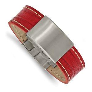 【送料無料】ブレスレット アクセサリ― チゼルステンレススチールブラシブレスレットchisel stainless steel brushed red leather 8 id bracelet srb21208