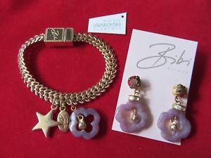 【送料無料】ブレスレット アクセサリ― ビビライラックヒスイゴールドトーンイヤリングブレスレットbibi bijoux lilac jade gold tone earrings amp; bracelet bnwt