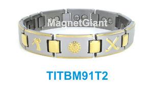 【送料無料】ブレスレット アクセサリ― ゴルフハイパワーメンズチタニウムブレスレットガウスゴールドgolf high power mens magnetic titanium bracelet 5000 gauss magnets goldamp;silver