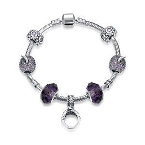 【送料無料】ブレスレット アクセサリ― スターリングシルバーブレスレットジルコンガラスリングペンダント925 sterling silver bracelet hand chain purple zircon glass ring pendant da