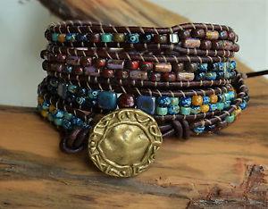 【送料無料】ブレスレット アクセサリ― ビーズレザーブレスレットボヘミアンピカソハンドメイドbeaded leather four wrap bracelet bohemian multicolor picasso handmade yevga