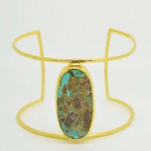 【送料無料】ブレスレット アクセサリ― オスマンカフブレスレットターコイズaylas semi precious gem stone ottoman gold plated cuff bracelet turquoise handm